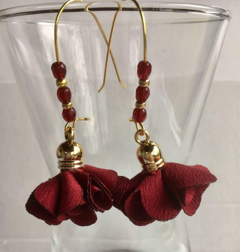 065dea16d Tassel earrings gold Burgundy satin silk Burgundy swarovski | Etsy