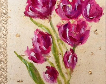 Trilogy - Bouquet of pink tulips and lace - shabby - acrylic - 20 x 20