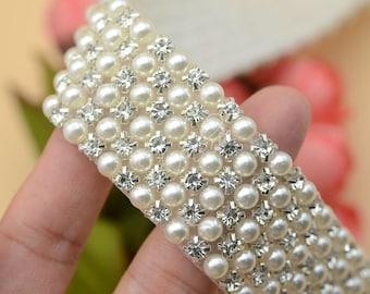 3 6row crystal rhinestone beaded pearls trim applique Iron On bridal Sew on  1Yard DIY Clothes Dress Crafts 4ddbb7bc7e02