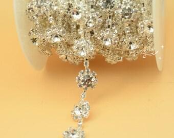 5 yard costume crystal rhinestone applique trim silver LB-1 65afb6c88714