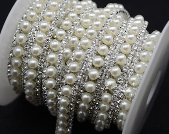 1 yard costume pearl strass chain rhinestone applique trims silver For DIY  Clothes Dress Crafts fe41a77254d0