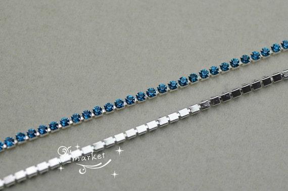 Gratuite expédition mode artisanat 3mm ss12 Crystal strass blue blue strass zircon perles argent base chaîne garniture pour accessoires de couture 10 verges b04a92