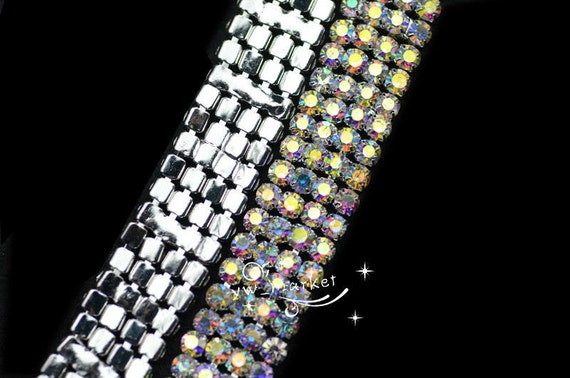 4-ligne AB cristal strass chaîne garniture de gâteau de garniture mariage DIY décoration 1 yard 33972b