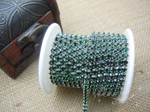 SS16 Strass chaîne étroite bordures x en couleur 11 x bordures 6 m vert profond 3154c2