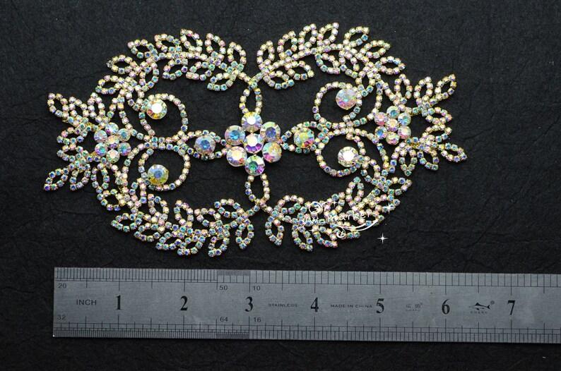 1 pcs Costume Wedding Dress Applique AB Crystal Rhinestone Sewing On A390