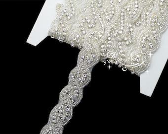1 Yard crystal rhinestone beaded trim applique Iron on bridal costume sew on A8016