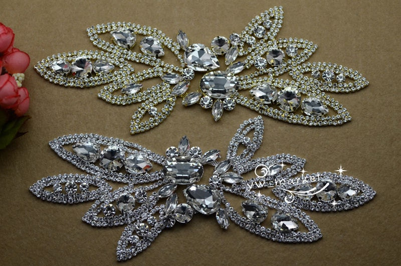 1 pcs Costume de mariage mariage de robe Applique cristal strass à coudre On(A361) 19f3cb