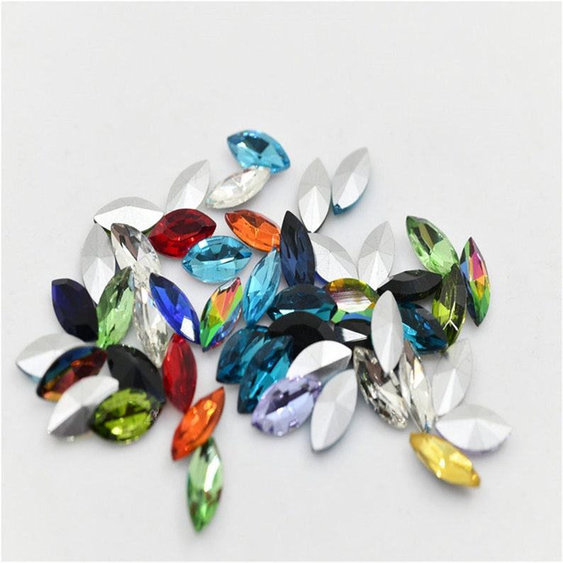 7x15mm Mix Color Navette crystal Glass Pintback Rhinestone Faceted Jewelry Stones 48pcs