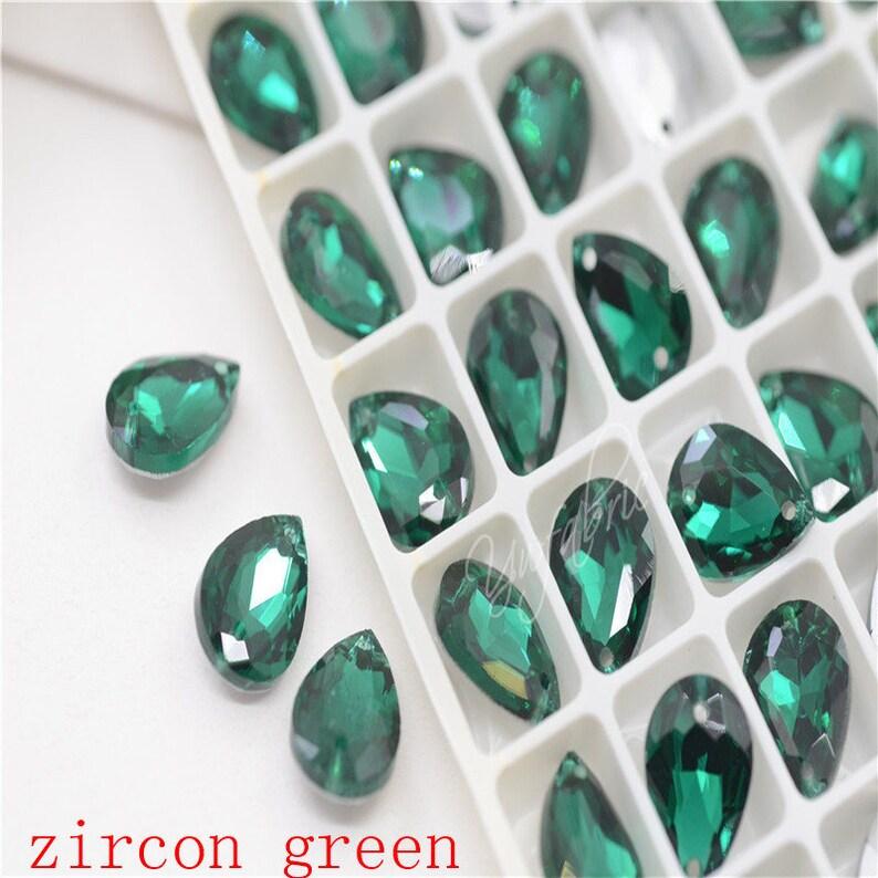 10x14mm 2 Holes Color Glass TearDrop Sew on Stones Crystal Rhinestone Costumes DIY 48pcs