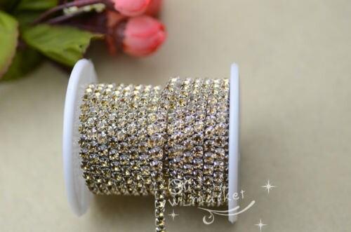 SS16 Crystal strass chaîne étroite étroite étroite garnitures 11 couleur x 6 cristal jaune ab3879