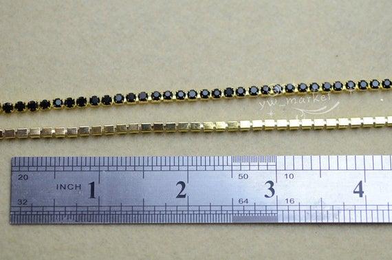 10 yard ss12 couleur strass étroite garniture chaîne strass couleur noire 14958b