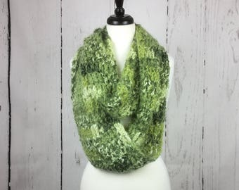 Green Fuzzy Infinity Scarf/Multi Colored/Soft Wool Blend Loose-Knit Infinity Scarf/Multi-Way Scarf/Adult/Women/Ladies/Cold Weather/Warm