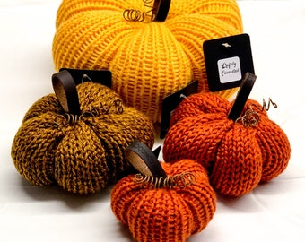 Knit Pumpkins | Fall Decor | Thanksgiving Display | Autumn Home Decoration | Halloween Stuffed Pumpkins | Teal Pumpkins | Knitted Pumpkins