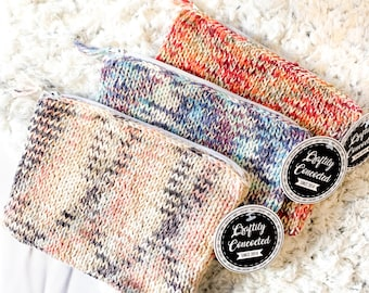 Zippered Knit Pouch for Makeup or Other Small Items | Travel Makeup or Pencil Case | Knitted Cosmetic Bag | Fully Lined Knit Travel Bag