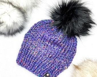 Purple Tweed Knit Faux Fur Chunky Pom Pom Hat | Knit Beanie | Winter Hat | Knitted Hat | Chunky Hat | Chunky Beanie | Winter Knit Hat | Gift