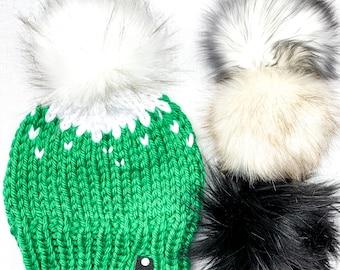 Green & White Knit Faux Fur Pom Pom Hat | Knit Beanie | Winter Hat | Knitted Hat | Chunky Hat | Chunky Beanie | Winter Knit Hat | Fair Isle