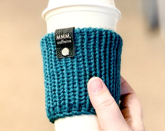 Knit Cup Sleeves | Cup Cozy | Can Cozy | Can Sleeve | Bottle Cozy | Bottle Sleeve | Gift for Coffee Lovers, Caffiene Fiends, Funny Gifts