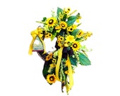 Mother 39 s Day Gift, Spring Wreath, Home Décor Front Door Décor, Spring Grapevine Wreath, Summer Grapevine Wreath, Sunflower Wreath
