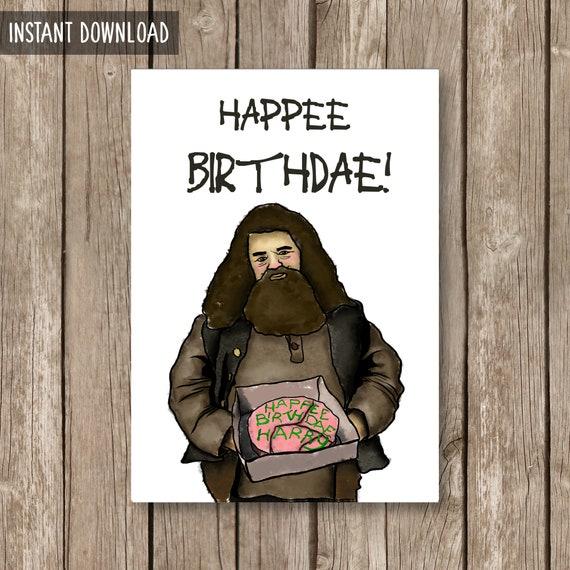 Harry Potter Printable Birthday Card Harry Happee Birthdae Etsy
