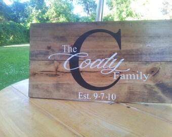 Family name ESTABLISHED sign. Style: Bkack monogram
