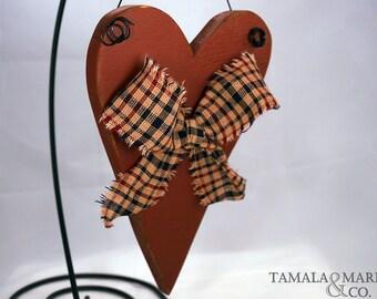 Primitive Wood Heart (Sign) - Country Rustic Heart Decor, Distressed Wooden Heart, Door Hanger, Heart Decor, Rustic Heart Wood Sign