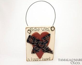 Primitive Wooden Sign with Heart Door Hanger - Distressed Heart, Door Hanger Sign, Door Knob, Rustic Heart, Rustic Wood, Sign, Wooden Heart