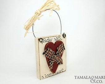 Wooden Heart Door Sign - Country Primitive, Distressed Heart, Door Enter Sign, Happy Heart, Rustic Wood, Welcome Sign, Wooden Heart