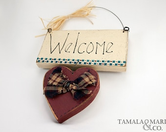 Welcome Wooden Sign - Country Primitive Decor, Handmade Welcome Sign, Primitive Decor, Rustic Sign, Wall Art, Welcome Sign, Wooden Heart
