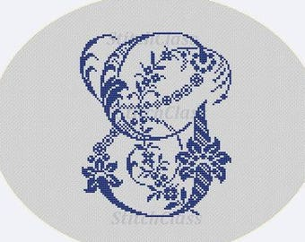 Floral old Monogram letter G Counted Cross Stitch Pattern PDF Monogram G for initials of persona Crossstitch patterns PDF. Not alphabet