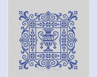 Counted Cross Stitch Pattern PDF greek vase with floral ornament monochrome CrossStitch Patterns Instant Download Epattern PDF File