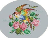 Parrot sitting on branch with roses Reconstructed according to old tapestry in style of Berlin Woolwork Counted Cross Stitch Pattern PDF