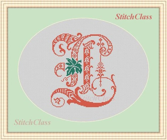 Decor monogram L with leaf Counted Cross Stitch Pattern PDF Font letter L for initial of persona crossstitch patterns L Not alphabet