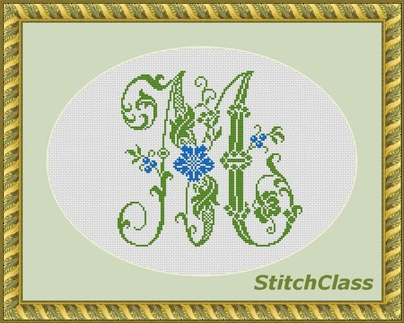 Letter D floral monogram old style counted cross stitch pattern PDF letter D for initial persona xstitch crossstitch D Not whole alphabet