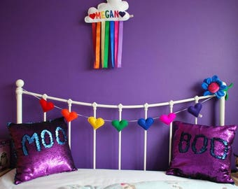 Heart Garland - rainbow garland - felt garland - rainbow heart garland - bunting - baby shower - 7 felt hearts - child decor - MADE TO ORDER
