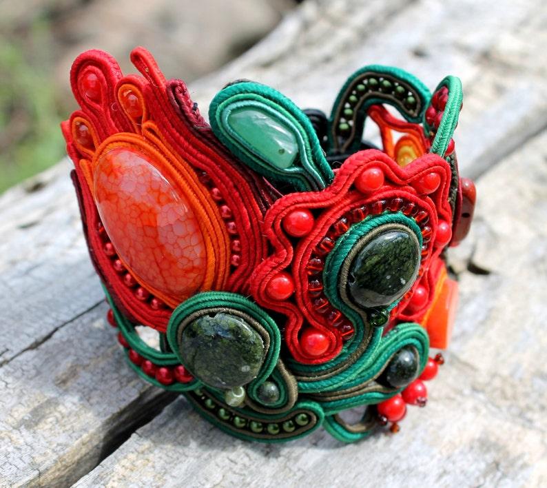 Folk red green black soutache cuff bracelet Ukrainian Inspirational gifts for women