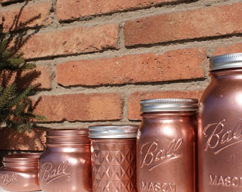 Copper Hand Painted Ball Mason Jar // Centerpieces // Flower Vase // Wedding Decor // Mother's Day Gift // Unique Gift // Pretty Storage Jar