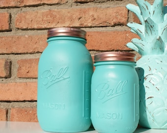 Aqua & Copper Hand Painted Ball Mason Jar // Home Centerpieces // Wedding Decor // Teacher's Gift // Mother's Day Gift // Unique Gift Ideas
