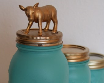Golden Cow Lid Mason Jar // Hand Painted // Animal Gift // Home Decor // Kid's Bedroom // Unusual Gift Ideas // Interesting Gift // Mother's