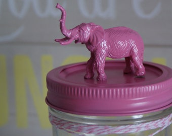 Hand Painted Pink Animal Lid Mason Jar // Home Decor // Kid's Room Decor // Unique Gifts // Funky Gift Idea // Fun Storage Jars // Gift Idea