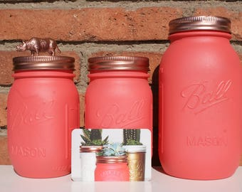 Pink / Salmon Hand Painted Ball Mason Jar // Home Centerpieces // Wedding Decor // Teacher's Gift // Mother's Day Gift // Unique Gift Ideas