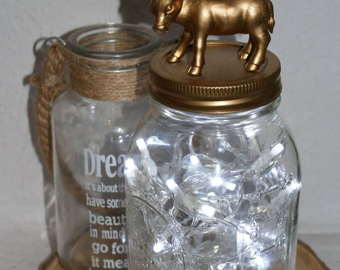 Animal Mason Jar Light Fixture //  Fairy Lights // Kid's Night Light // Bedroom Decor // Baby Shower Gift // Home Decor // Interesting Gifts