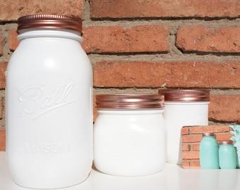 White Ball Mason Jar // Flower Vase // Pen Pot // Desk Tidy // Makeup Brush Storage // Wedding Centrepiece // Table Decor // Unique Gift