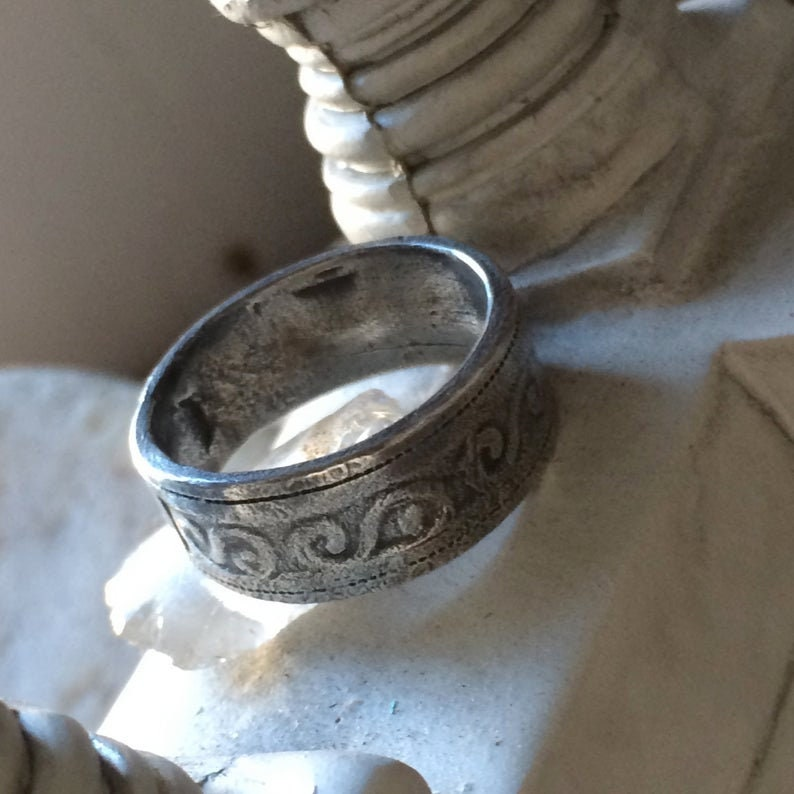 Men/'s Silver Ring Wide Silver Ring Women/'s Silver Ring Band Unisex Silver Ring Band Personalized Ring Gift For Him Ancient Ring Chunky Ring