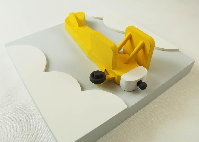 3D Airplane Nursery Wall Decor Yellow Wood Biplane Wall Art