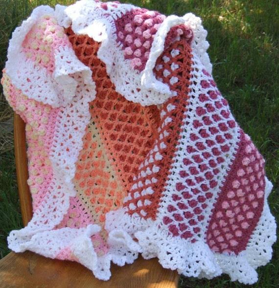 Diamond Trellis Baby Afghan Lap Blanket Mens Afghan Etsy