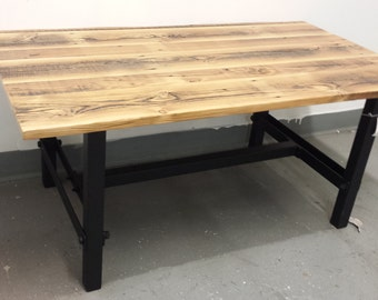 Handcrafted Wrought Iron Industrial Style Coffee Table of Recycled Steel and Reclaimed Wood Top