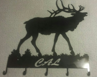PERSONALIZED Coat Hat Rack or Key Rack with Bull Elk made from Recycled Steel with Five Hooks