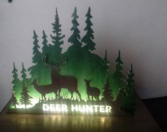 3-D Deer Hunter LED Lighted Sign Night Light on a Base to Stand Alone in Your Man Cave, Den or Office