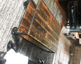 Vintage Industrial Coffee Table On Steel Casters. Reclaimed Wood U0026 Recycled  Steel