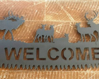 """Custom Bull Elk with Cows Silhouette """"WELCOME"""" Cut Out on Cross Cut Saw Replica Complete with Handles"""